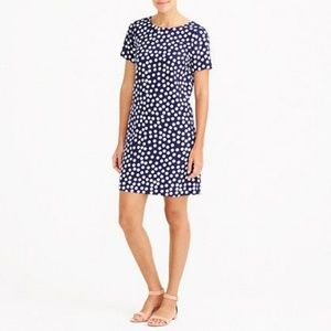 J. Crew Blue Polka Dot Short Sleeve Sheath Dress